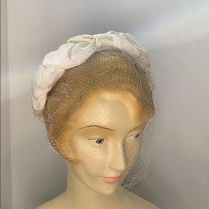Vintage 50's 60's Ivory Headband Netting Veil